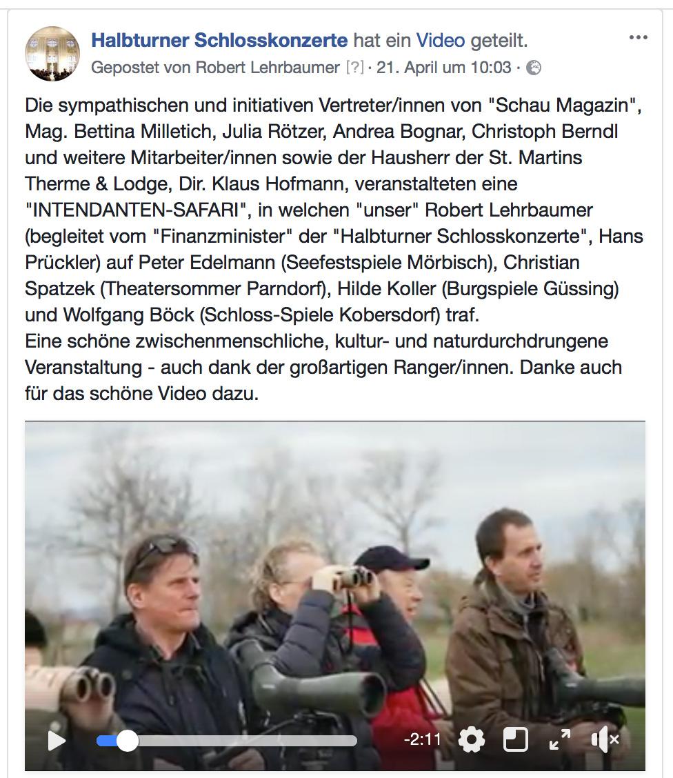 """Intendanten-Safari von """"Schau-Magazin"""" und St. Martins Therme"""
